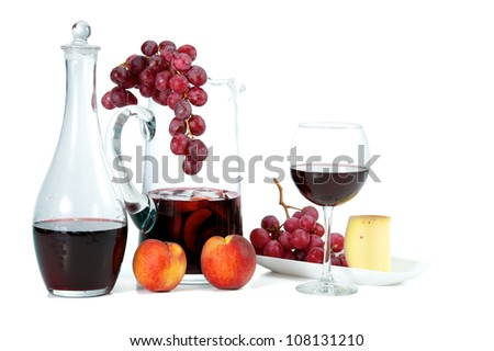 Wine, Grapes, Peaches, and Cheese. A summer snack.