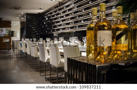 wine in interior of modern restaurant
