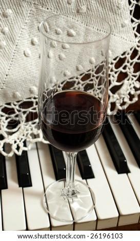 wine, keyboard, goblet, music