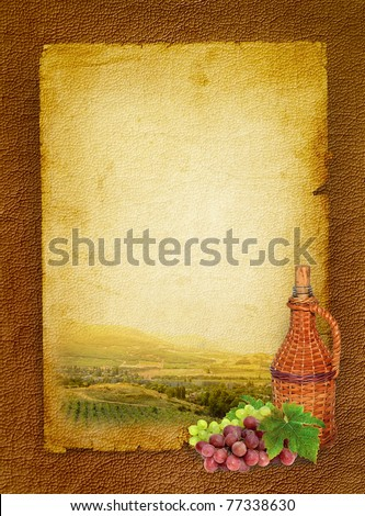 Wine list menu with vineyard and grapes with green leafs. Hand-made traditional bottle of the home vine and bunch grapes. Vintage paper background for the wine poster.