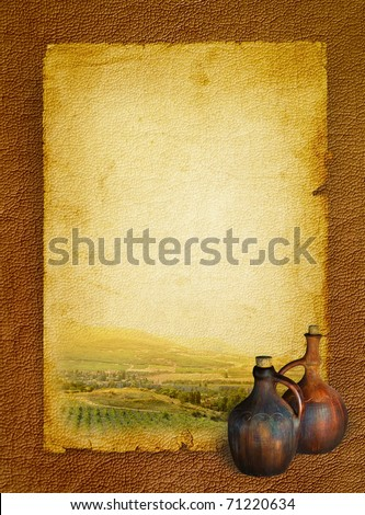Wine list menu with vineyard and the old pitcher for wine. Vintage background paper on the leather texture and stained in shades of brown.