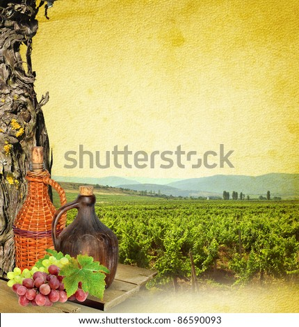 Wine making - still life of the wine. Landscape composition with vineyard, grapevine, grapes and wine's bottles. - stock photo