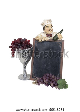 Wine menu marquee with a chef holding grapes and a bottle of wine with a silver chalice with grapes overflowing - path included