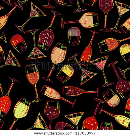 Wine party background. Seamless pattern