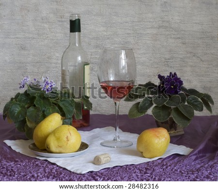 wine, pears and violets