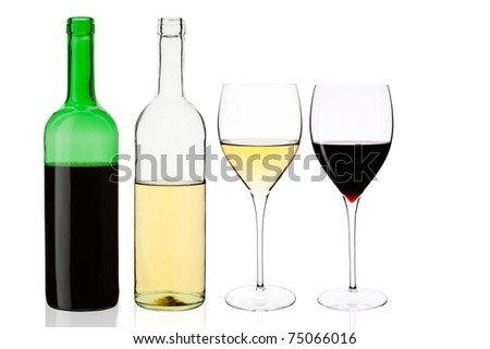 Wine set isolated on white background. White and red wine bottle and elegant glasses.