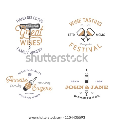 Wine shop badges templates in typography style perfect for winery, vineyard or any drink store. Retro monochrome design will be good on any identity - t shirts, prints, bottles. Stock labels.