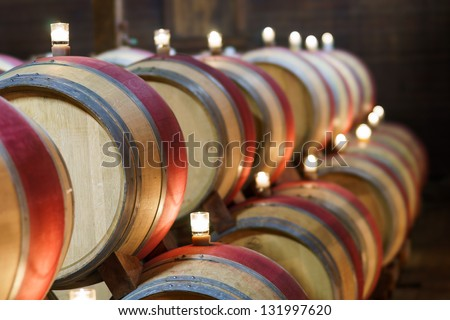 Wine storage hall at a winery, Napa Valley, California