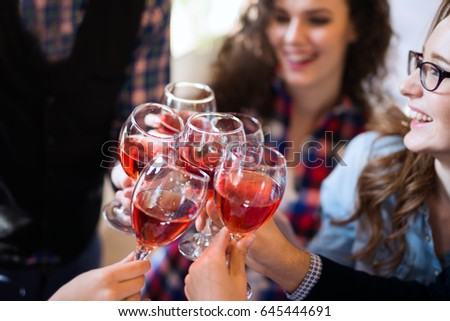 Wine tasting event by happy people concept #645444691