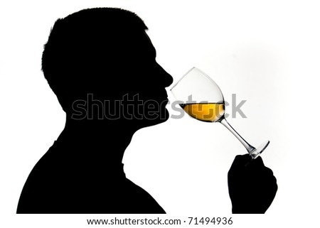 Wine tasting with human figure in silhouette and white wine