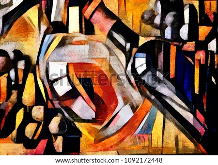 Wine themes in the style of cubism. Bottles, glasses and grapes on the table. Executed in oil on canvas with elements of pastel painting.