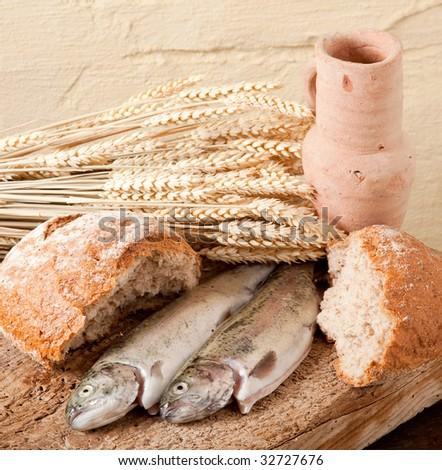 Wine, wheat, bread and fish as symbols of religion