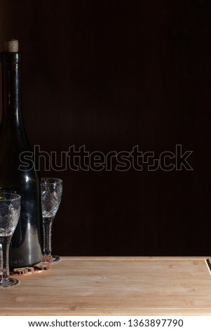 Wine with wineglass on wooden background. #1363897790