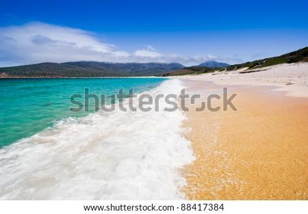 Wineglass Bay in Tasmania, Australia - stock photo