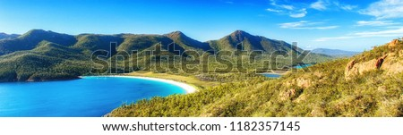 Wineglass Bay on the Freycinet Peninsula in North East Tasmania on a clear sunny day. #1182357145