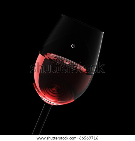 Wineglass with red wine and drop