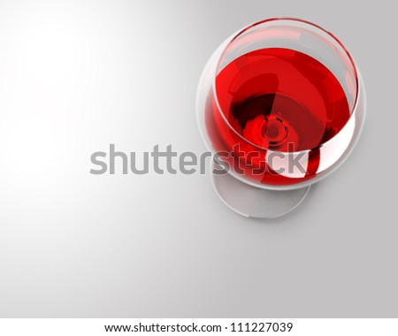 Wineglass with the red wine, top view. #111227039