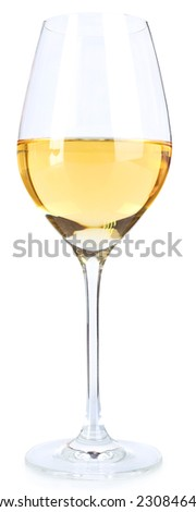 Wineglass with white wine isolated on white #230846425