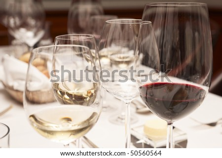 Wineglasses on restaurant table - expensive dining