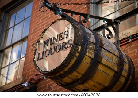 Wines and Liquors Barrel in Boston's Beacon Hill Neighborhood