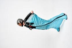 Wing. Men in wing suit templet. Skydiving men in parashute. Simulator of free fall.