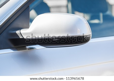 Wing mirror on a silver car