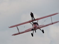 Wing-walking performance at a Canadian airshow near Bromont, Canada
