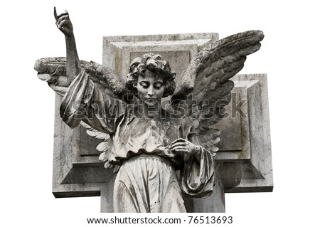 Winged angel statue isolated on white background. Clipping path included.