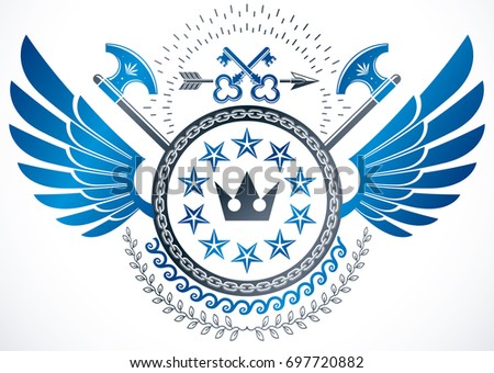 Winged classy emblem, heraldic Coat of Arms created using security keys, royal crown and stars