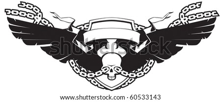 Winged skull on white background