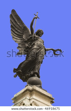 stock photo : Winged statue of Victory in Colchester War Memorial, England.