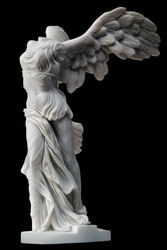winged victory of samothrace small replica isolated on black background