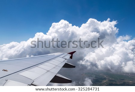 Wings aircraft with blue sky  #325284731