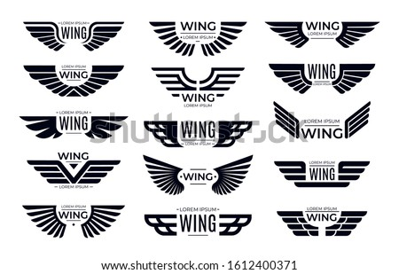 Wings badges. Flying emblem, eagle bird wing and winged frame. Aviation pilot patch badge, army insignia emblem or biker logotype sticker. Isolated  icons set
