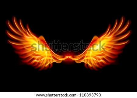Wings in Flame and Fire. Illustration on black - stock photo