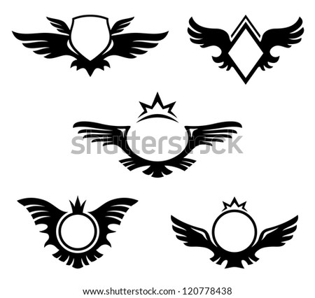 Wings shaped emblems. Coats of Arms with copyspace. Raster version of vector image 119283316