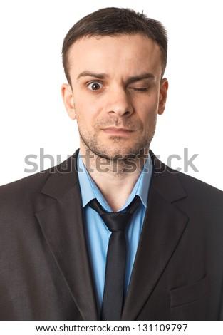 Winking businessman portrait on white