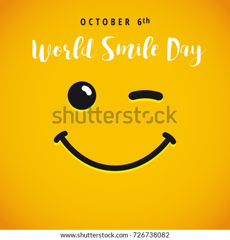 Winking smiley and lettering World Smile Day on yellow background. World Smile Day october 6th banner. Cartoon illustration
