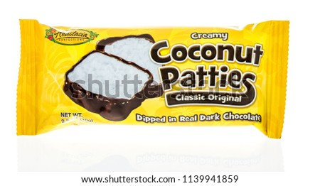 Winneconne, WI - 21 July 2018 -  A package of creamy coconut patties classic original by Anastasia confections on an isolated background. #1139941859
