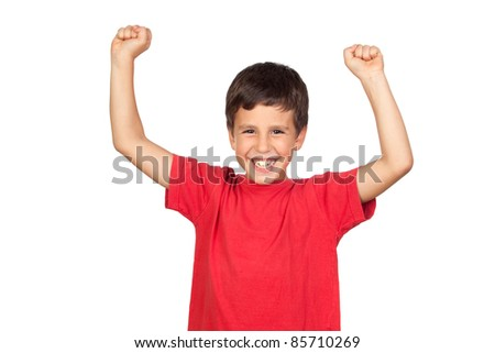 Winner boy isolated on a over white background