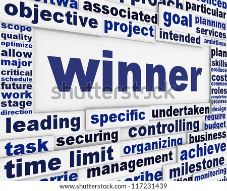 Winner conceptual message background. Best achievements poster design - stock photo