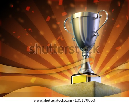 Winner cup standing on a pedestal. Festive orange background. Digital illustration.