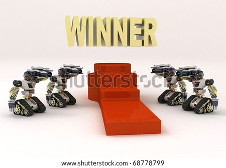 winner 3d gold and red carpet