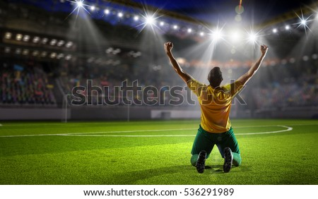 Winner of soccer cup . Mixed media