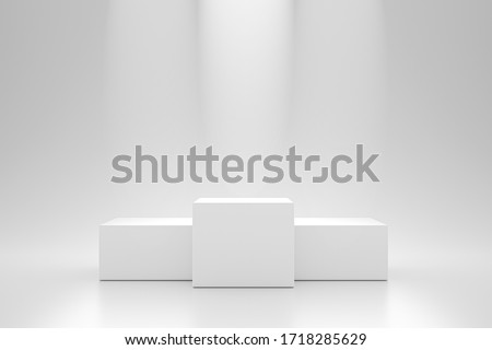 Winner podium and blank stand on pedestal background with spotlight product shelf. Blank studio podium for advertising. 3D rendering.