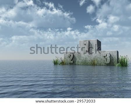 winner podium at the ocean in front of blue sky - 3d illustration