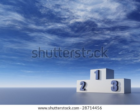 winner podium in front of blue sky - 3d illustration