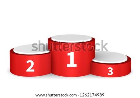 Winner podium, winner pedestal, isolated on white, 3d illustration