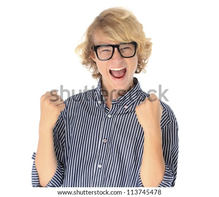 Winner.Portrait of teenage boy with  cool glasses raising his fists. - stock photo