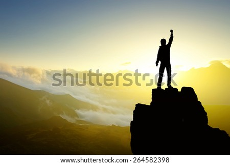 Winner silhouette on mountain top. Sport and active life concept  #264582398